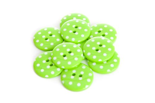 Green Polka Dot 2 Hole Button - 22mm