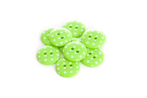 Green Polka Dot 2 Hole Button - 15mm
