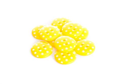 Yellow Polka Dot 2 Hole Button - 15mm