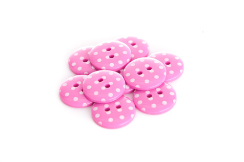 Pink Polka Dot 2 Hole Button - 22mm