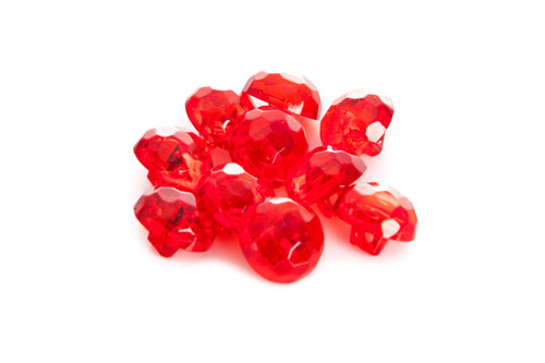 Red Shiny Clear Diamond Effect Shanked Button - 15mm