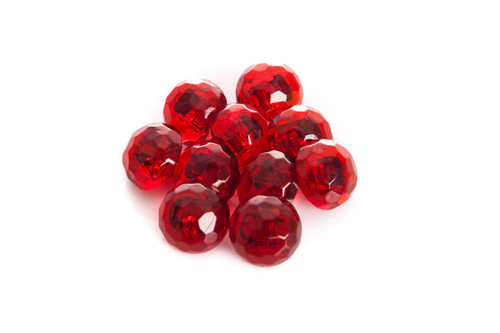 Burgandy Shiny Clear Diamond Effect Shanked Button - 15mm