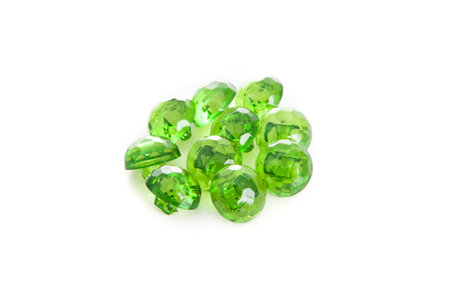 Green Shiny Clear Diamond Effect Shanked Button - 15mm