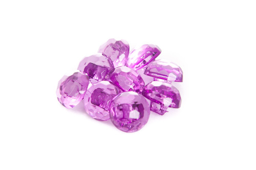Orchid Shiny Clear Diamond Effect Shanked Button - 15mm