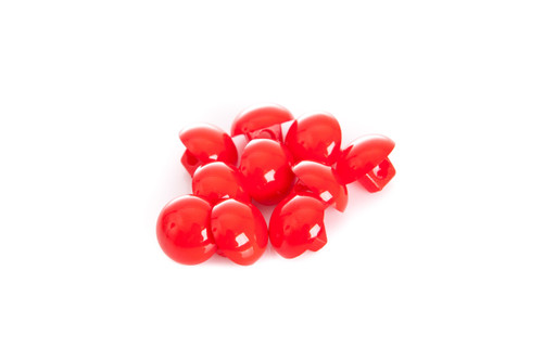 Red Shiny Half Ball Shanked Button - 11mm