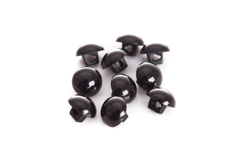 Black Shiny Half Ball Shanked Button - 11mm