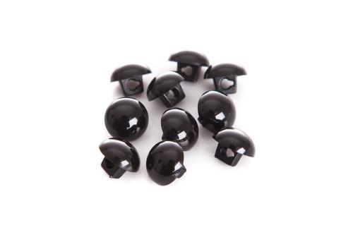 Black Shiny Half Ball Shanked Button - 11mm
