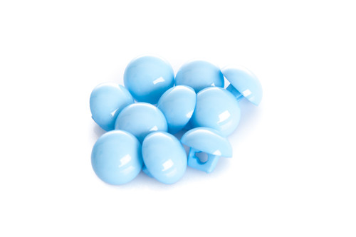 Light Blue Shiny Half Ball Shanked Button - 11mm