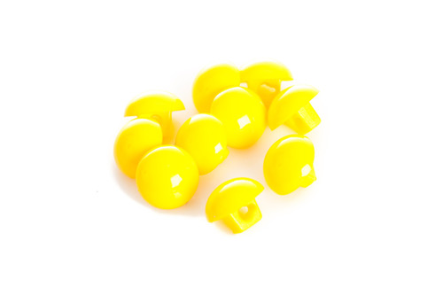 Yellow Shiny Half Ball Shanked Button - 11mm