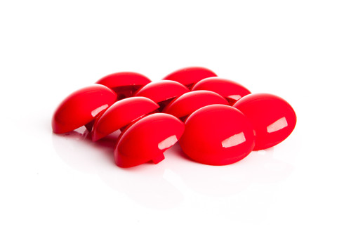 Red Shiny Half Ball Shanked Button - 18mm