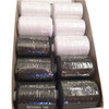 Box of 10 spun polyester sewing threads, each 1000 yards per spool. Five white and five black in each box.