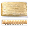 Light Gold sequin trim, elasticated to make garment sewing and movement easy. On a 10 meter card