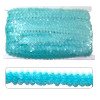 Aqua sequin trim, elasticated to make garment sewing and movement easy. On a 10 meter card
