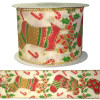 Christmas stocking ribbon with wire edging on a 10 meter roll. Gold, red and green are the predominant colours.