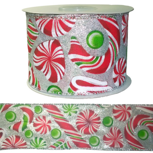 Red and green festive ribbon with pretty candy decoration and fine wire edging on 10 meter roll.