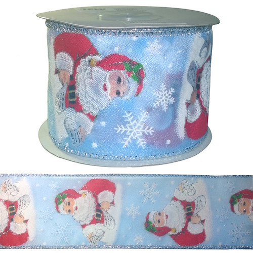 Blue ribbon with red santa and white snow flakes on a 10 meter roll.