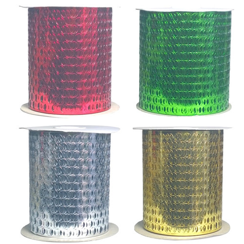 Punchinella also known as sequin waste in green, red, silver or red on 20 meter rolls.