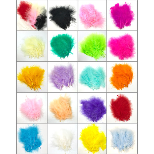 Soft marabou feather in 20 different colour options. Each packet has 20 individual feathers.