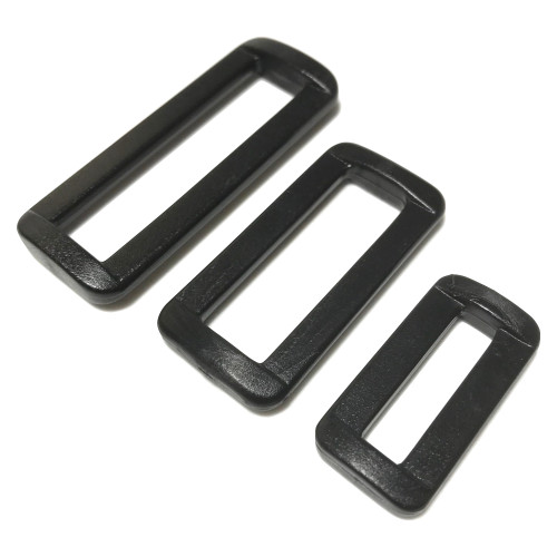 Three sizes of black heavy duty loop slide buckle.