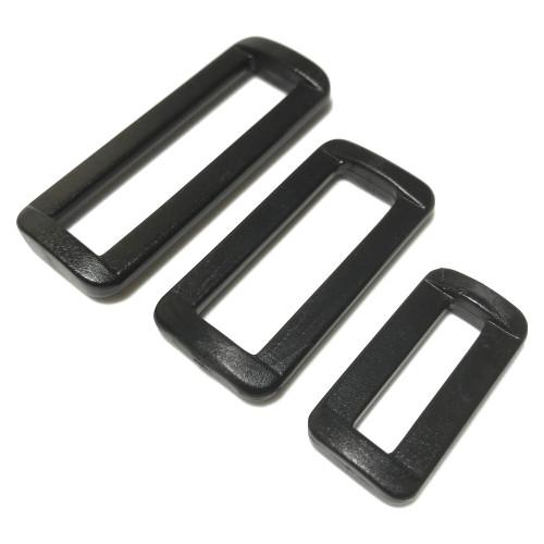 Three sizes of black heavy duty loop slide buckle.