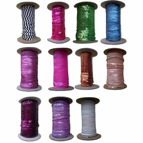 Stretch sequin string in a selection of bright colours.