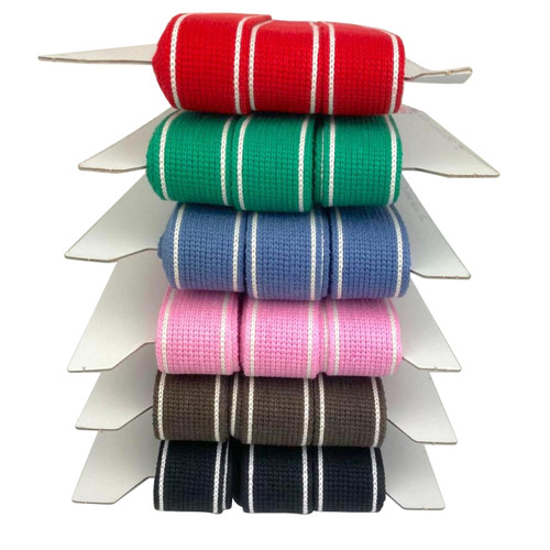 Cotton blend webbing with cream stripe on each edge. A variety of colours available.