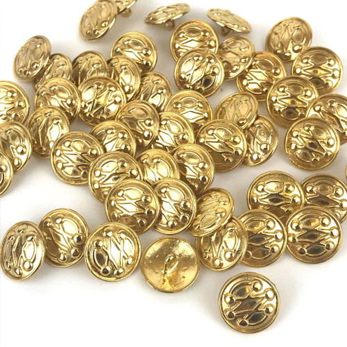 Solid metal gold shank button in military style.