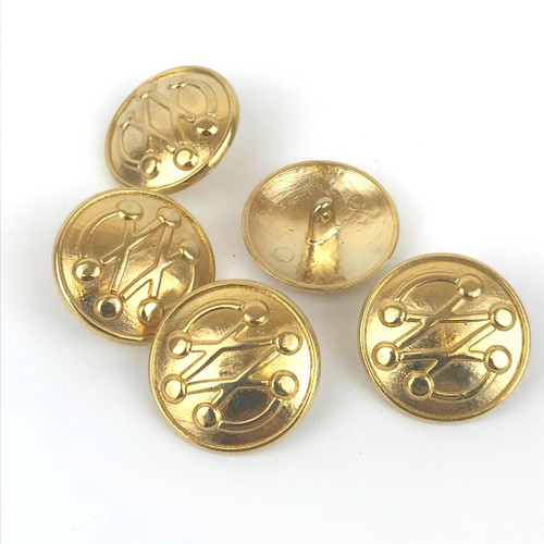 Solid metal gold button with shank back, ideal for uniform or blazer.