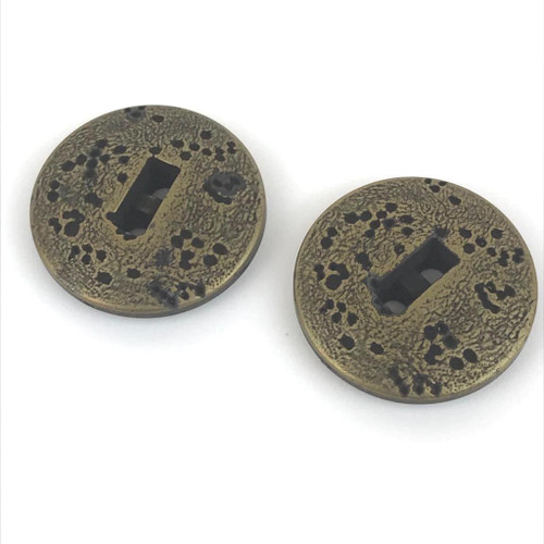 Bronze metal 2 hole button .