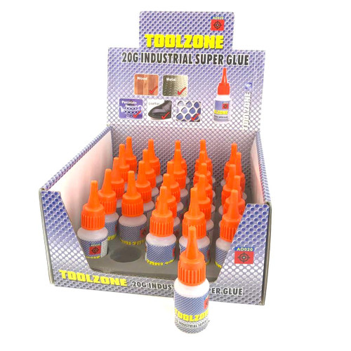 Display box of 25 super glue bottles.