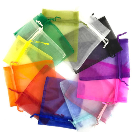 Organza bags with ribbon drawstring in assorted colours.