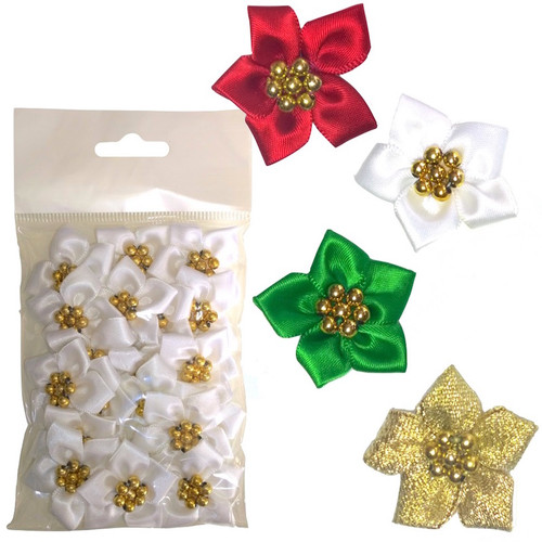 Satin ribbon flowers with five petals and gold bead in the centre. Selection of colours available.