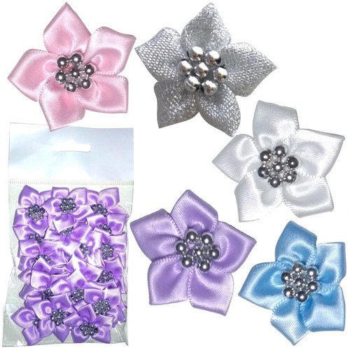 Satin ribbon flowers with five petals and silver bead in the centre. Selection of colours available.