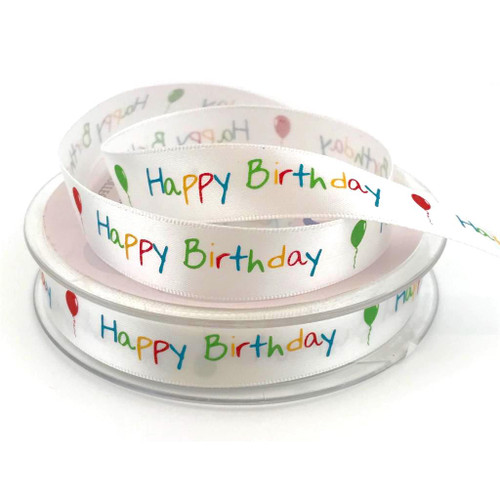 White satin ribbon with multi colour happy birthday and floating balloons printed.