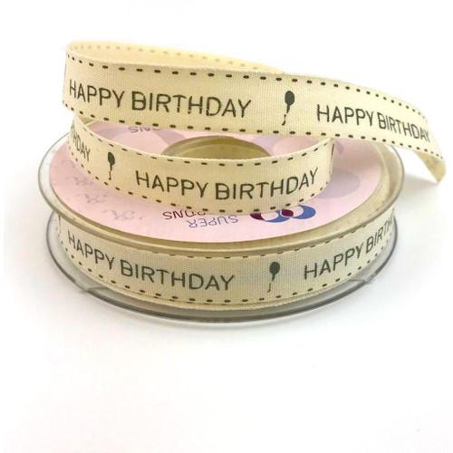 Natural colour happy birthday ribbon on cream beige colour grosgrain ribbon.