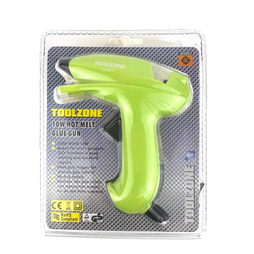 Toolzone mini glue gun in green with rubber nozzle.