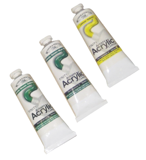 Winsor and Newton Artists Acrylic Colour Paint 60ml tubes.