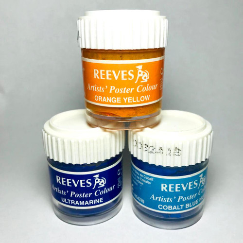 Poster paint by Reeves in three colours each 22ml.