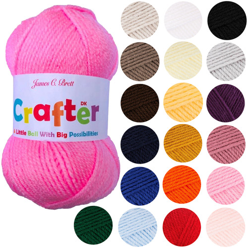 James C Bretts Crafter Double Knitting DK yarn 50g balls in variety of colours.