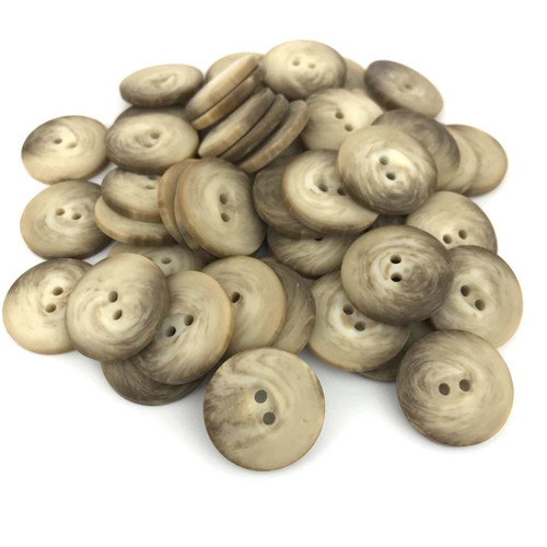 Beige and brown marble effect 2 hole round button.