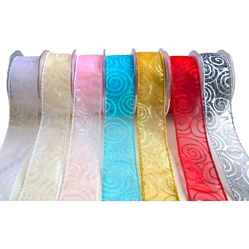 Glitter organza ribbon with wire edge in several colour options.