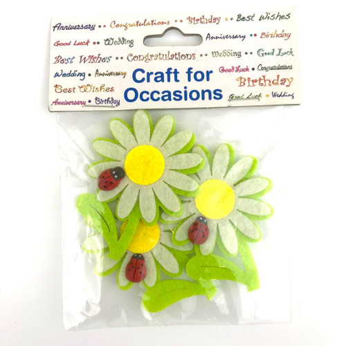 Felt Flower & Ladybird Craft Embellishment