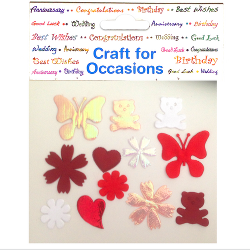 Red White Fabric Flower Craft Embellishments