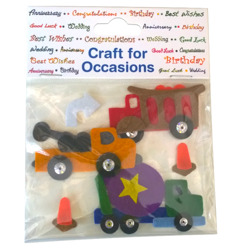 Die cut felt trucks and road cones.