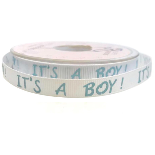 Its a boy grosgrain ribbon with blue writing on white ribbon.