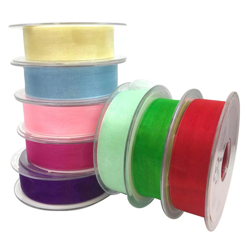 Plain organza ribbon 25mm wide and 25meters on the spool. Available in 18 colours.