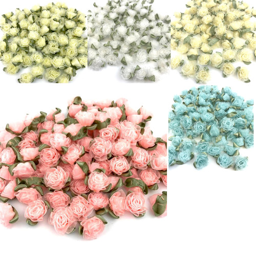 Chiffon ribbon flowers with green leaves sold in packets of 50 pieces.