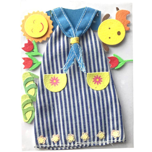Fabric sun dress with neckerchief and pockets. shoes, tulips, dog and sun made from card.