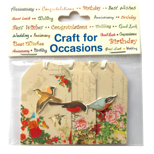 Four paper and card tags printed with floral and bird decoration. Self adhesive backing.