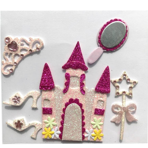 Pink glitter castle, tiara, wand, mirror and Cinderalla shoes.